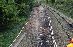 Derailed train and extent of track damage