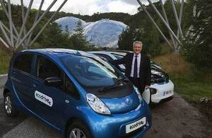 Andrew Jones with ultra low emission vehicle at the Eden Project