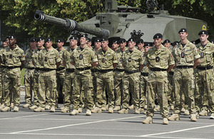 Soldiers of the 2nd Royal Tank Regiment on parade at Aliwal Barracks, Tidworth, Wiltshire
