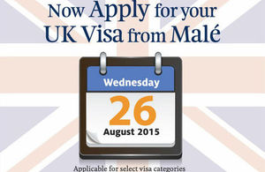 UK visa from Male