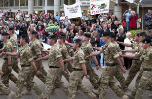 Family and friends welcome back the final squadron from the 2nd Royal Tank Regiment to return from Afghanistan