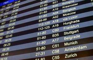 Picture of airport flight arrivals screen