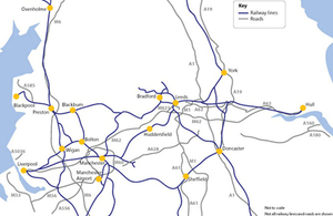 Northern Powerhouse transport map