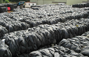 Bales of waste tyres