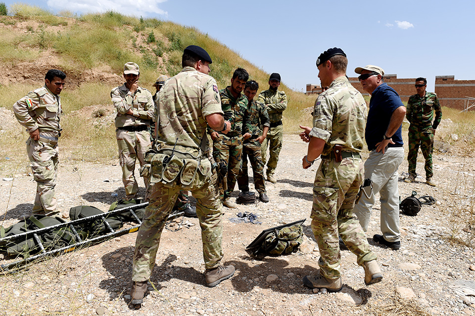 British Soldiers from the Royal Engineers delivers training to Kurdistan troops as part of Counter Improvised Explosive Device (CIED) training which is delivered to Kurdistan troops by British Military Personnel in Erbil, Iraq.