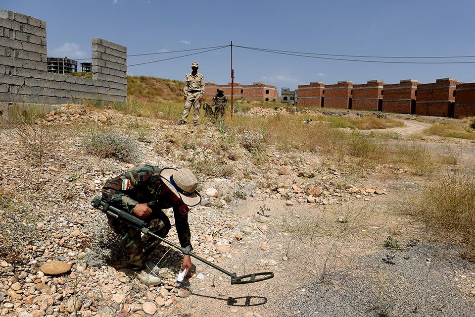 A Kurdistan troop takes part in training to find Improved Explosive Devices as part of his training which is being delivered to them by British Soldiers in Erbil, Iraq.