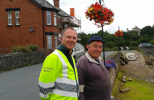 Martin Davies, Flood Risk Advisor at the Environment Agency and John Newbery, Cockwood resident and local historian, in front of Cockwood harbour.