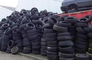 Part of the illegal tyre store
