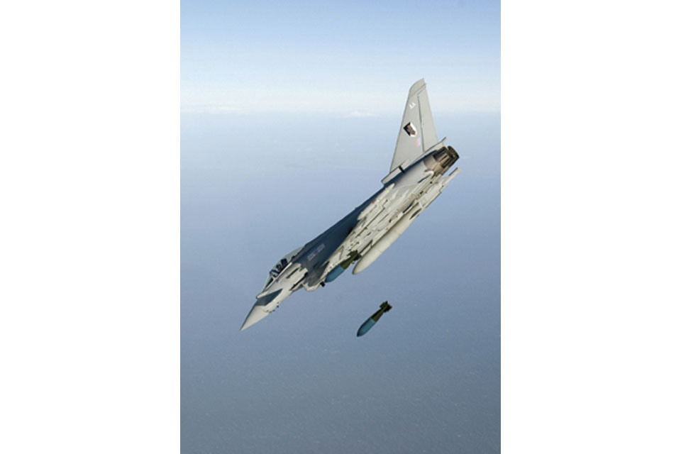 A Typhoon releases a freefall bomb