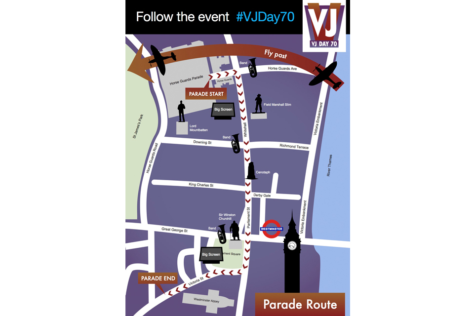 VJ Day route map