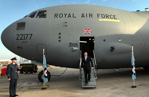 Prime Minister David Cameron exiting the newest C-17 transport aircraft at RAF Brize Norton today