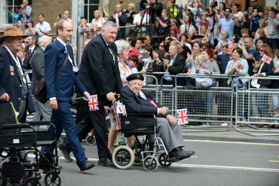 Thousands of people cheered on veterans of the Second World War today as events took place in London to mark the 70th anniversary of VJ Day.