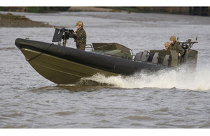 Royal Marines from 539 Assault Squadron taking part in a security exercise on the River Thames in preparation for the London 2012 Olympic Games