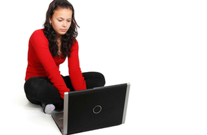 Teenager on laptop