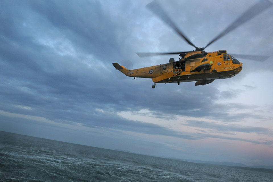 A RAF Sea King helicopter from 203 Squadron participates in Exercise Yellow Scorpion with the Royal National Lifeboat Institution