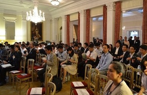 Audience listening to presentations from UK companies at the British Embassy in Tokyo