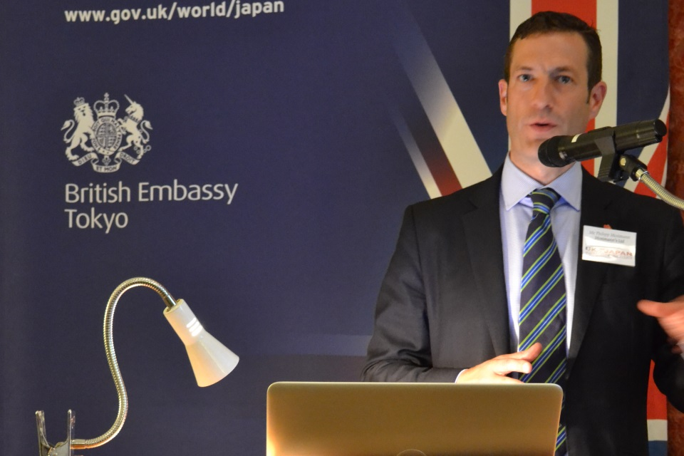 Philipp Mosimann, Managing Director of Mosimann's Ltd speaking at seminar at British Embassy