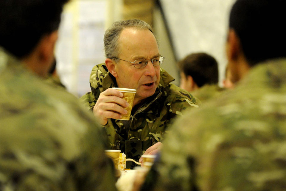 Chief of the Defence Staff General Sir David Richards has breakfast with troops in Lashkar Gah