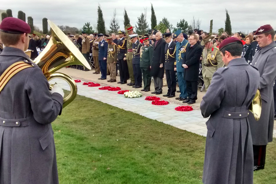 The ceremony to commemorate overseas-born Victoria cross recipients at the National Memorial Arboretum in March 2015.