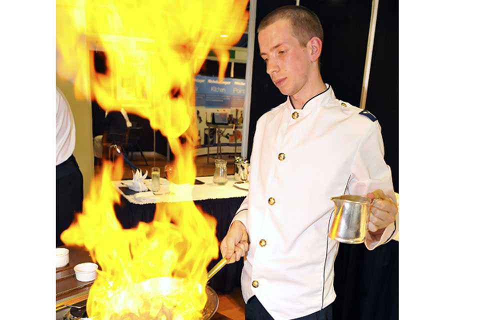 Senior Aircraftman Andrew Kerr, from RAF Leuchars, set the standard when his flambé technique resulted in the biggest flame of the day