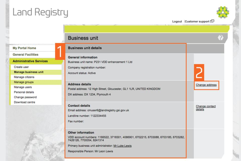 HM Land Registry portal: update a business unit account - GOV UK