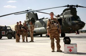 Flight Lieutenant Vanessa Miles (front) with members of her Medical Emergency Response Team in southern Afghanistan