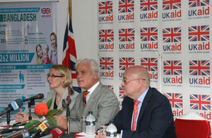 Desmond Swayne has announced up to £3 million to help flood affected people in Bangladesh during a Press Conference in Dhaka