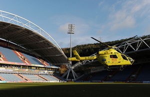 Yorkshire Air Ambulance in action in Huddersfield