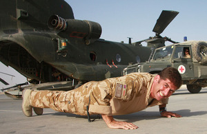 Flight Lieutenant Andy Smith on his way to 20,000 press-ups and sit-ups at Camp Bastion, Helmand province