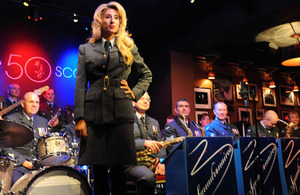 Stacey Solomon with the RAF Squadronaires at Ronnie Scott's club in London