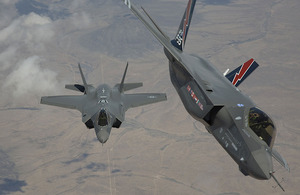Two of the first F-35 aircraft arrive at Edwards Air Force Base in the Mojave Desert, California, for US military testing