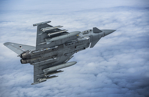 An RAF Typhoon patrols the skies over the Baltic states