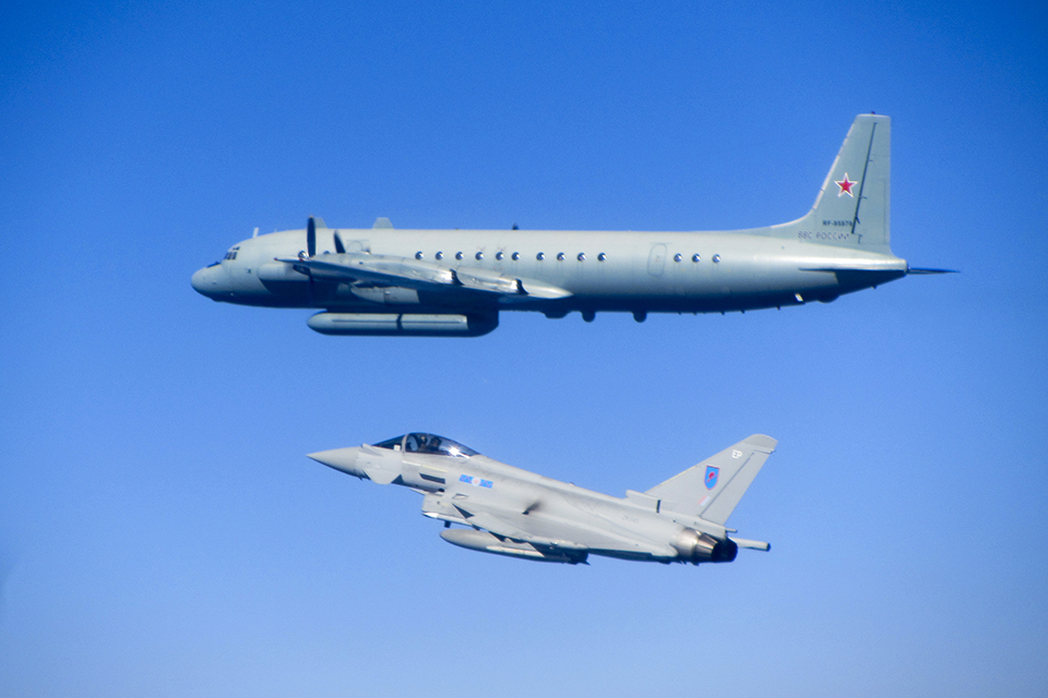 An RAF Typhoon escorting a Russian Coot electronic intelligence gathering aircraft over the Baltic.