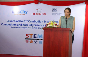 Dr Bryony Mathew, Deputy Ambassador, at the launch of the 2nd Cambodian Interschool STEM Competition
