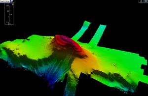 Multibeam echo sounder imagery of the uncharted sea mount discovered by HMS Echo in the Red Sea
