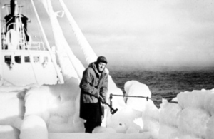 N Reynolds on board the RV Ernest Holt in the Barents Sea