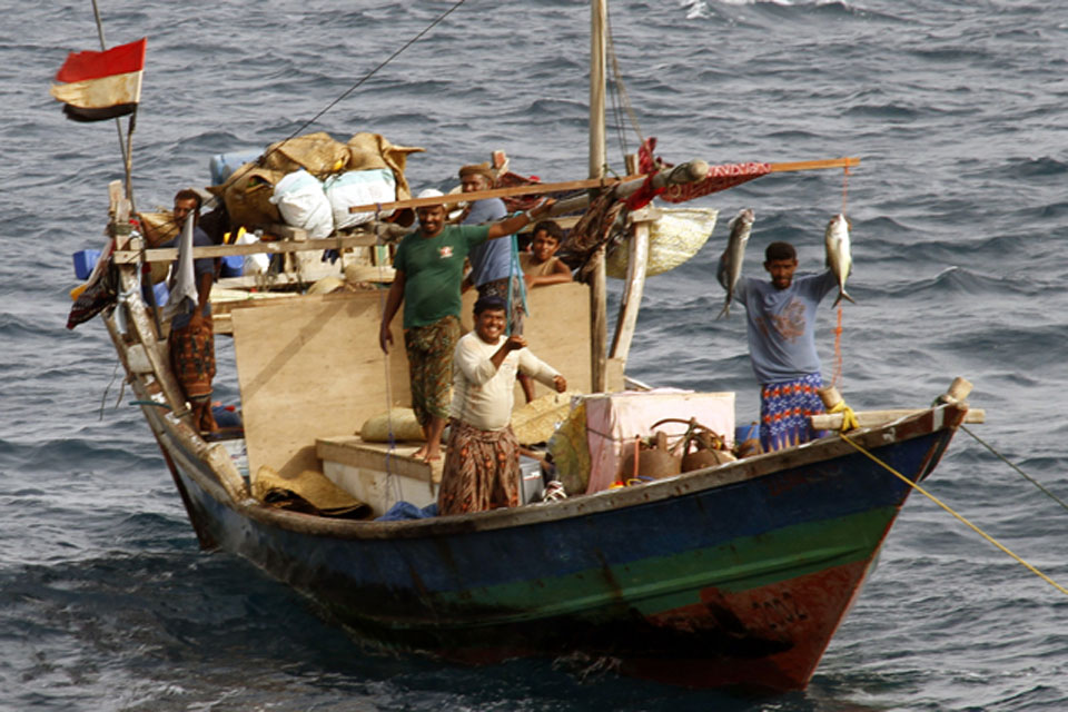 Yemeni fishermen at anchor on the sea mount