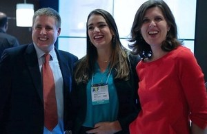 Matt Brown, Linguaphone Group, Alexandra Bortoluzzo, Marketing Director, Grupo Prepara and Joanna Crellin, Consul General, Sao Paulo