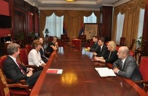Baroness Anelay with Zeljka Cvijanovic, Prime Minister of the Republika Srpska, and Fadil Novalic, Prime Minister of the Federation of Bosnia and Herzegovina in Banja Luka
