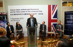 Sir Mark Walport has launched the £10m Longitude Prize in China at a Science Salon on Anti-microbial Resistance in Beijing.