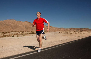 Colour Sergeant Damian Todd running through the Nevada desert