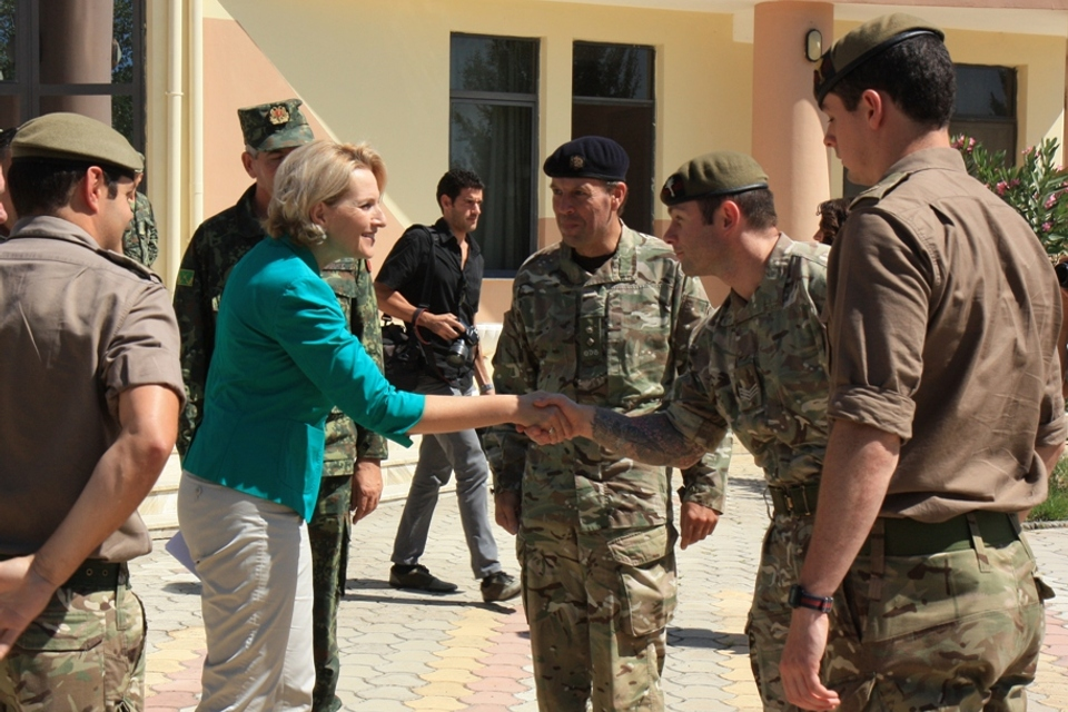WG C/Sgt Matthew John Davies introduces himself to the Albanian Minister of Defence Mrs Mimi Kodheli in the presence of UK Defence Attaché accredited in Albania Lt Col Richard Parry.