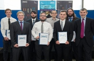 Dstl engineering apprentices with Jonathan Lyle, Chief Executive, Dstl.