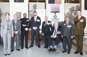 Starting 3rd from left: Victoria Cross holders Corporal Johnson Beharry, Corporal Benjamin Roberts-Smith, Warrant Officer Class 2 Keith Payne, Sergeant William Speakman and Captain Rambahadur Limbu at the Royal Artillery Museum in Woolwich