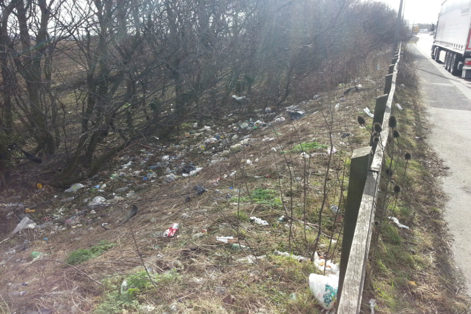 Litter on the motorway