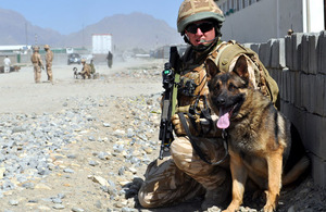 Lance Corporal Andy Wallace and patrol dog Gromit out on patrol in the suburbs of Kabul