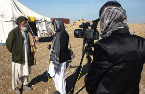 Afghan journalists at work in Helmand province