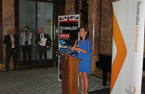 Eileen Burbidge speaking to guests at the Australian High Commission