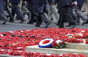 Wreaths of poppies laid at the base of the Cenotaph war memorial in London for Remembrance Sunday