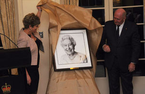 High Commissioner Menna Rawlings and the Governor-General of Australia unveiling the portrait of HM the Queen